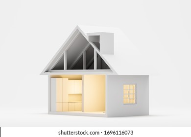 Mortgage and real estate market concept. Nice little house, mansion model over white background. 3d rendering
