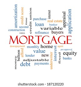 Mortgage Word Cloud Concept with great terms such as loan, home, banker and more.
