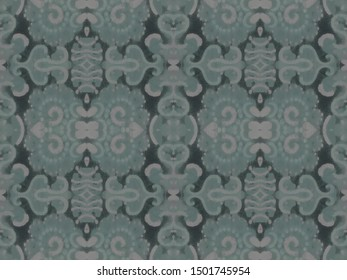 Mosaic Arabesque. Anthracite Ceramic Decor. Smoky Gray Flowers Faience. Charcoal Portuguese Porcelain. Frost Ice Victorian Tile Pattern. Dark Opal Seamless Ethnic Fabric.