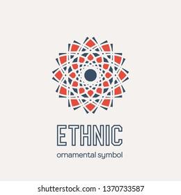 Mosaic arabic ornament. Circular emblem for ornamental design or logos