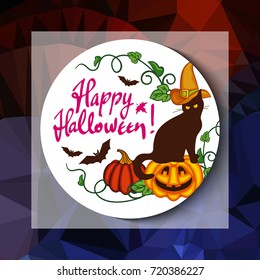 """Mosaic backdrop with black cat in witch hat, pumpkin and hand drawn text """"Happy Halloween!"""". Holiday halloween background for greetings cards, banners, layouts. Raster clip art."""