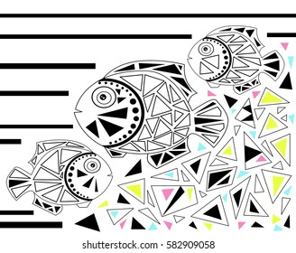 Mosaic fish illustration in modern abstract style on white