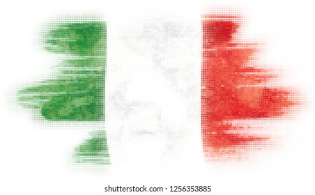 Mosaic heart tiles painting of Italian flag blown in the wind isolated on white background.