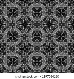 Фотообои mosaic kaleidoscope seamless pattern texture background - black gray grayscale with white grout