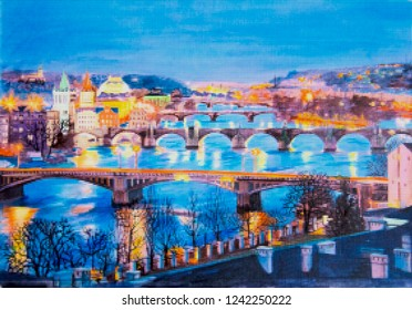 Mosaic picture, embrodery pattern - Bridges over the Vltava River in the city of Prague
