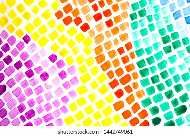 Mosaic Tiles Watercolour Diamonds and Squares Abstract Paint Multicolour  Background