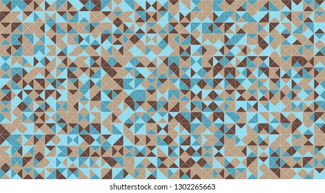 Mosaic triangle tiles flooring or wall decoration for wallpaper. Architecture design pattern material texture background, 3d abstract illustration