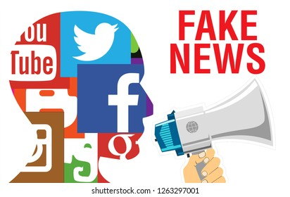 Moscow, 1 December 2018: Fake news concept. Social media network human head profile concept illustration in modern flat color style with Fake news text. Fact or Fake concept, Hand flip wood cube