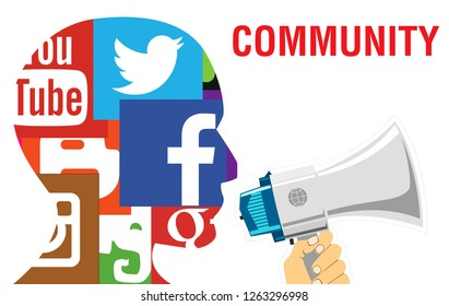 Moscow, 1 December 2018: Social media network human head profile concept illustration in modern flat color style with Community text. Teamwork and friendship concept created with simple emblem