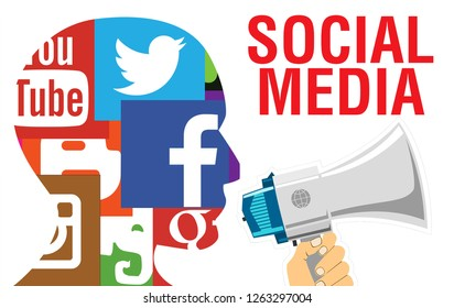 Moscow, 1 December 2018: Social media network human head profile concept illustration in modern flat color style with Social Media text. Social media,social network concept with smart phone