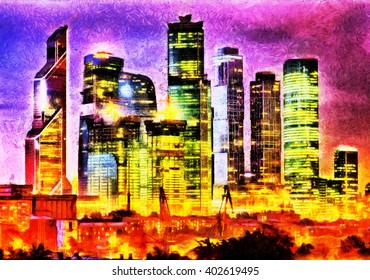 Moscow city business buildings night landscape oil painting