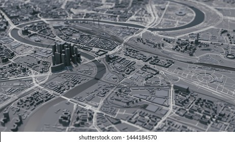 Moscow city map. Moscow 3d map. 3d illustration