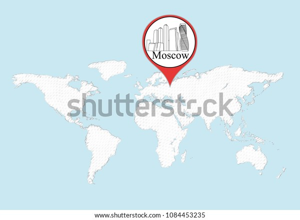 Moscow On World Map City Moscow Stock Illustration 1084453235