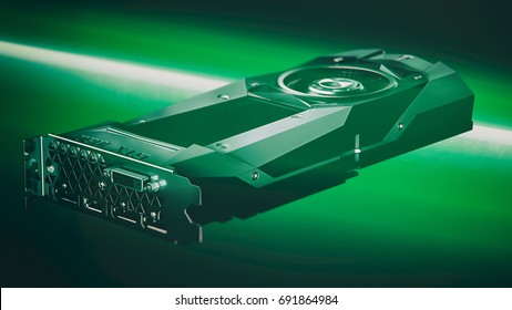 MOSCOW / RUSSIA - 08.08.2017: NVIDIA GEFORCE GTX 1080 Render Illustration