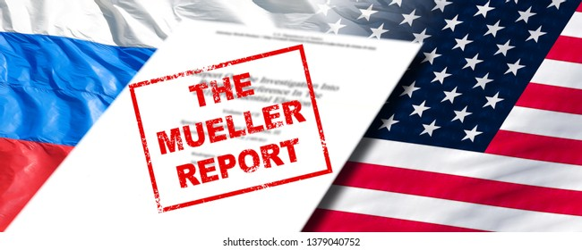 MOSCOW, RUSSIA - APRIL 18, 2019: Robert Mueller report on investigation into russian interference in 2016 presidential election front page on USA national flag and Russia flag background wide concept