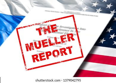 MOSCOW, RUSSIA - APRIL 18, 2019: Robert Mueller report on investigation into russian interference in 2016 presidential election front page on USA national flag and Russia flag background concept