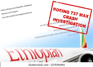 MOSCOW, RUSSIA - APRIL 18, 2019: Ethiopian airlines Boeing company 737 MAX airplane crash investigation red stamp on blurred background with aircraft and front page of accident investigation report