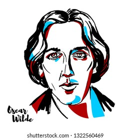 MOSCOW, RUSSIA - AUGUST 21, 2018: Oscar Wilde engraved  portrait with ink contours. Irish poet and playwright.