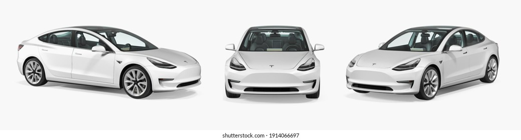 Moscow, Russia - February 5, 2021: white Tesla model 3 2018. isolated white background 3d illustration realistic render different angle view set