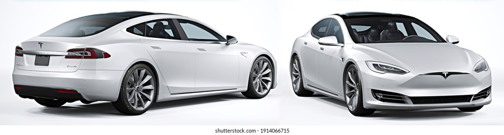 Moscow, Russia - February 5, 2021: white Tesla X Model 2017. isolated white background 3d illustration realistic render different angle view set, back, perspective view