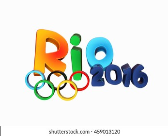 Moscow, Russia - July 27, 2016: Rio 2016 text olympic games concept. Rio de Janeiro banner with olympic rings isolated on white, 3d illustration