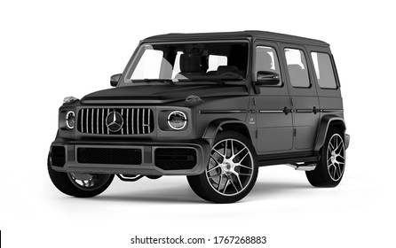 Moscow, Russia June, 2020: Mercedes-AMG G 63 Exclusive Edition isolated on white background, G-class off-road car produced by Mercedes-Benz. 3d render