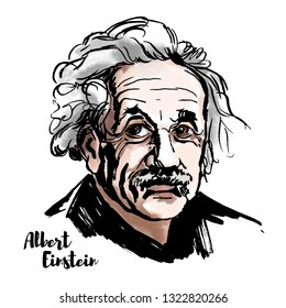 MOSCOW, RUSSIA - MARCH 20, 2018: Albert Einstein watercolor portrait with ink contours. The theoretical physicist who developed the theory of relativity, one of the two pillars of modern physics.