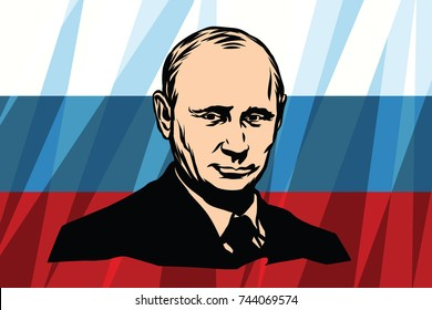 Moscow, Russia - October 29, 2017. The President of Russia Vladimir Putin. Russian flag background. illustration.