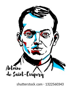 MOSCOW, RUSSIA - SEPTEMBER 26, 2018: Antoine de Saint-Exupery engraved portrait with ink contours. French writer, poet, aristocrat, journalist, and pioneering aviator.