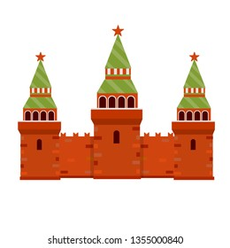 Moscow's kremlin. The residence of the Russian President on red square. Tourist destination for a tour to the capital. Fortress with a tower and wall. A tourist attraction. Cartoon flat illustration