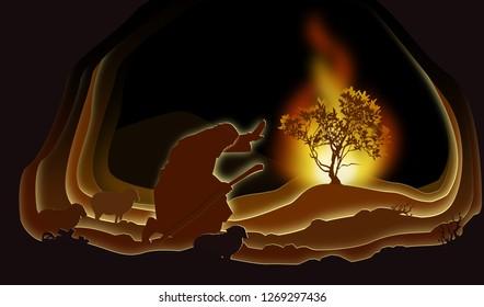 Moses and the Burning bush. Paper art. Abstract, illustration, minimalism. Biblical illustration.