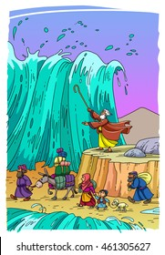 Moses leads the Jewish people through the Red Sea