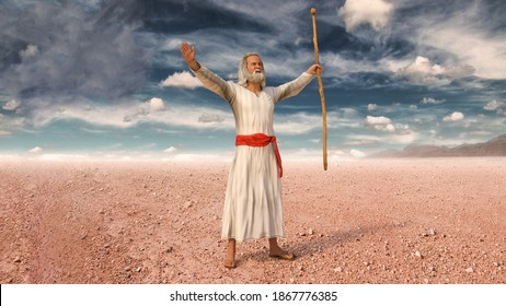 Moses raising his arms and prays to God during the Exodus of Jews from Egypt, 3d render.