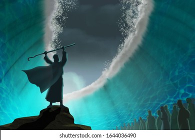 Moses separate the sea in exodus - Illustration