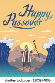 Moses separates sea for Passover holiday over mountain background. Exodus, Pesach. Card design with lettering. Flat illustration. Vertical. Raster version.
