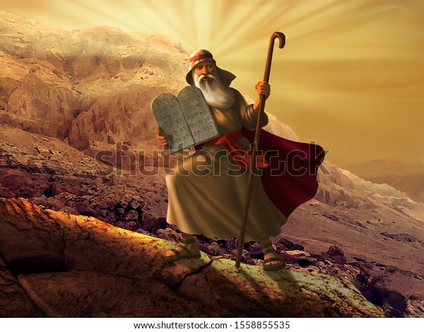 Moses with the Ten Commandments - Church Wall Mural