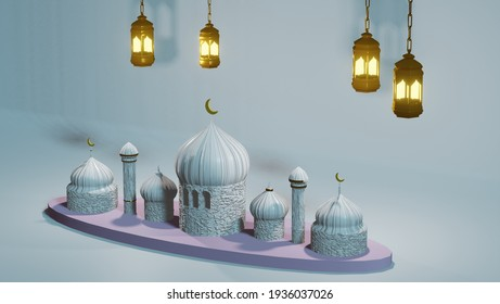 Mosque design with lanterns for ramadan moments - 3D illustration