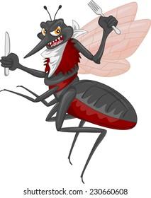 Mosquito cartoon ready to eat