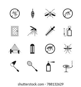 Mosquito prevent and control icons. Ban mosquito symbol illustration