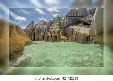 The most beautiful beach of Seychelles - Anse Source D'Argent , glass painting