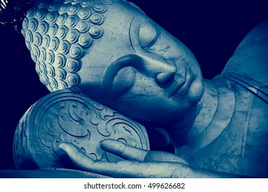 Most beautiful Colored 3D illustration Thai Style Sleeping Buddha face painting art effect vintage color tone.