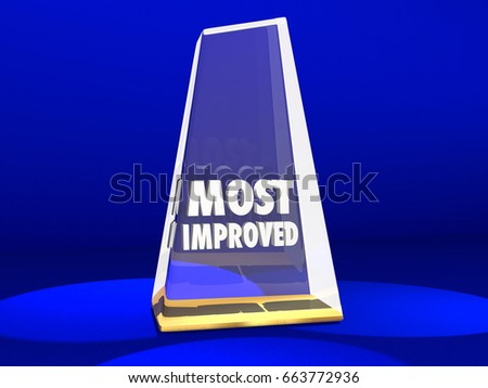 most improved award honor improvement 3 d stock illustration