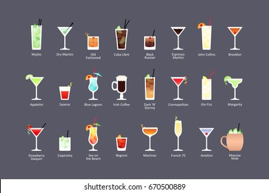 Most popular alcoholic cocktails part 1, icons set in flat style on dark background. Raster version