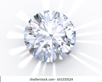 The most popular classic round brilliant cut diamond on light blue background  with reflected rays. Close-up view. 3D rendering illustration