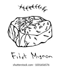 Most Popular Steak Filet Mignon. Beef Cut. Meat Guide for Butcher Shop or Steak House Restaurant Menu. Hand Drawn Illustration. Savoyar Doodle Style.