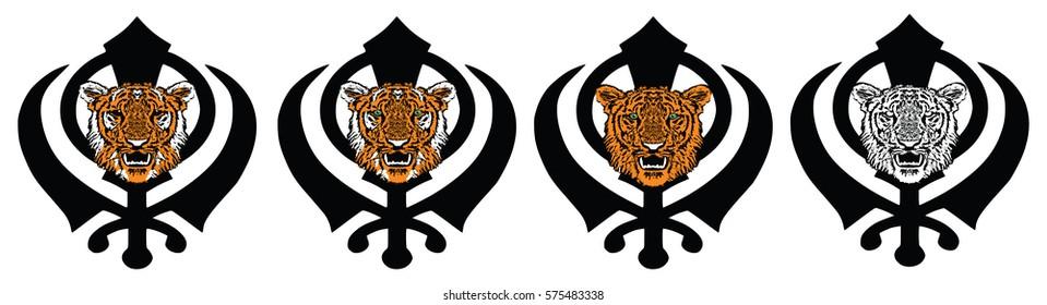 Most Significant Symbol Sikhism Khanda Adorned Stock Illustration