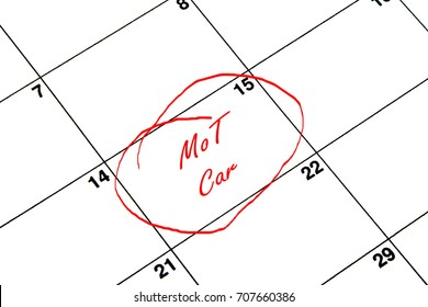 MoT Car Circled on A Calendar in Red