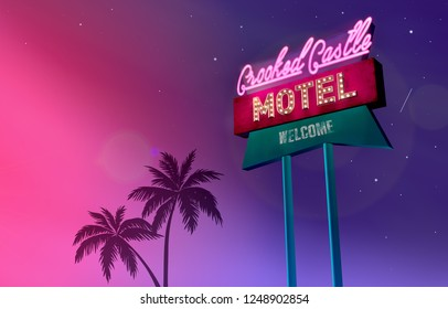 Motel sign illuminated at night, neon signboard design.  Illustration of a billboard with an indication of motel. 50's design.