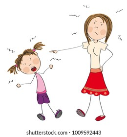 Mother angry with her naughty daughter telling her off - original hand drawn illustration