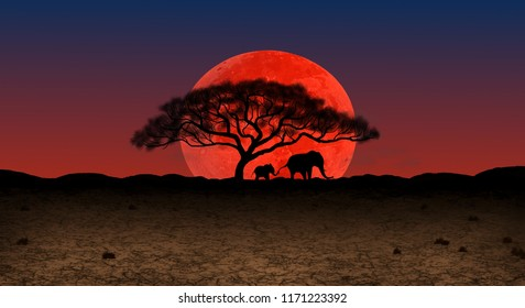 A mother and baby elephant under an acacia tree silhouetted against a huge red supermoon rising over the African wilderness, illustrated by Steven Russell Smith.